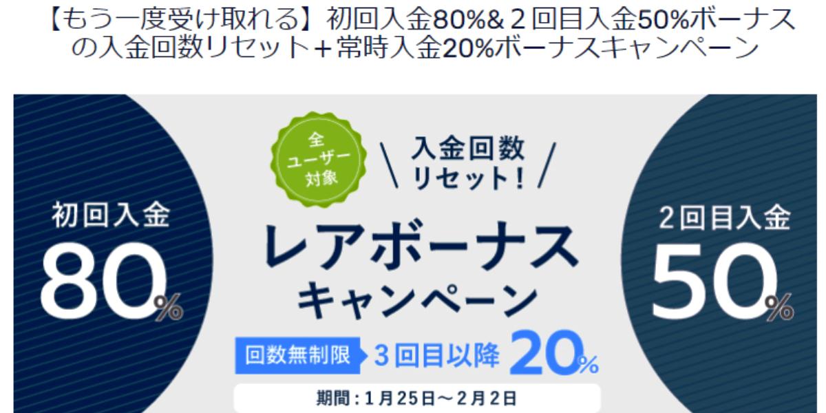 【海外FX】入金回数リセット!FXGTで初回入金80%ボーナスキャンペーン実施中!